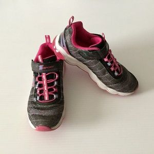 Girls Sport Sneaker Black Pink Glitter SKECHERS 3